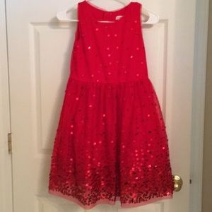 Red special occasion dress with sequins detailing